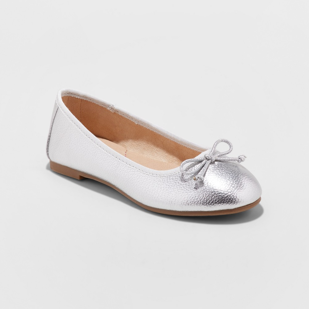 Girls' Stacy Ballet Flats - Cat & Jack Silver 5