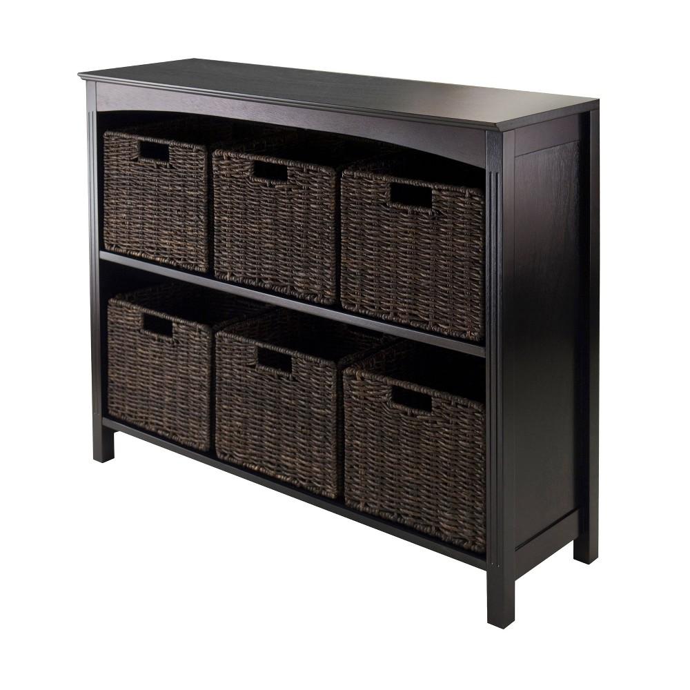 7pc Terrace Set Storage Shelf with Baskets Espresso Brown - Winsome