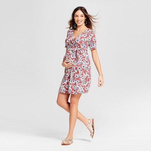Maternity Floral Printed Elbow Sleeve V-Neck Dress - Red - MaCherie - image 1 of 2