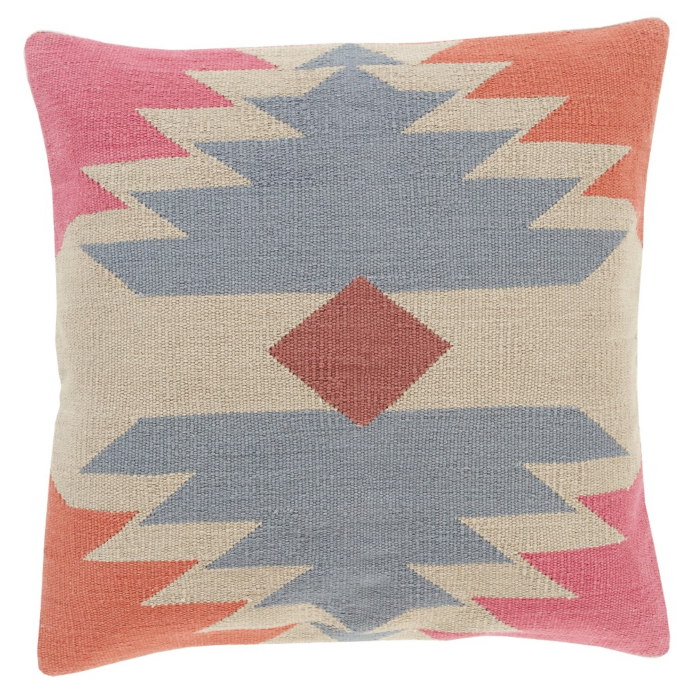 Slate (Grey) Swazey Tribal Throw Pillow 18