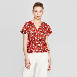 f31201eb Women's Floral Print Short Flutter Sleeve V-Neck Front Tie Wrap Top - Who  What