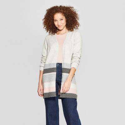 ed58e65a34 Women s Striped Long Sleeve Colorblock Open Cardigan - A New Day™ ...