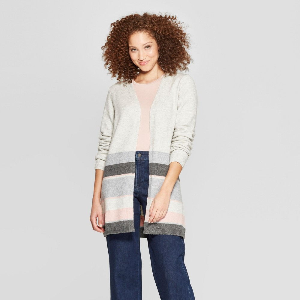 Women's Striped Long Sleeve Colorblock Open Cardigan - A New Day Gray/Pink Xxl