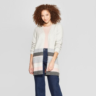 Women's Striped Long Sleeve Colorblock Open Cardigan - A New Day™ Gray/Pink XS