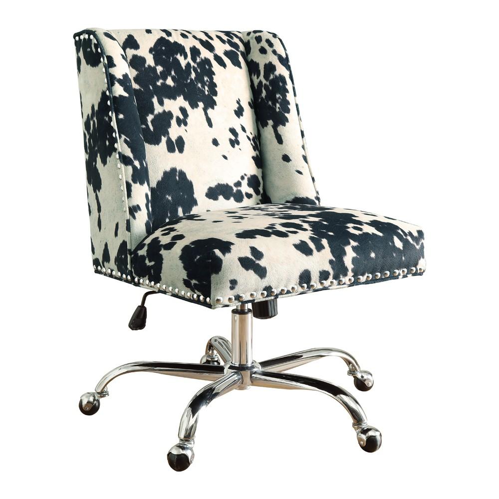 Draper Office Chair - Black Cow Print - Linon