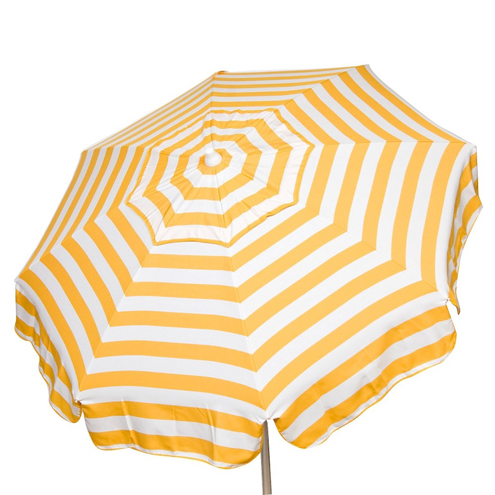 6' Italian Aluminum Collar Tilt Patio Umbrella - Parasol, Yell/Wht Stripe