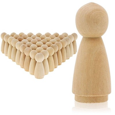 Bright Creations 50 Pack Unfinished Wooden Peg Angel Doll Bodies, Natural Wood Figures for Painting, DIY Arts and Crafts for Kids, 2 inches Tall