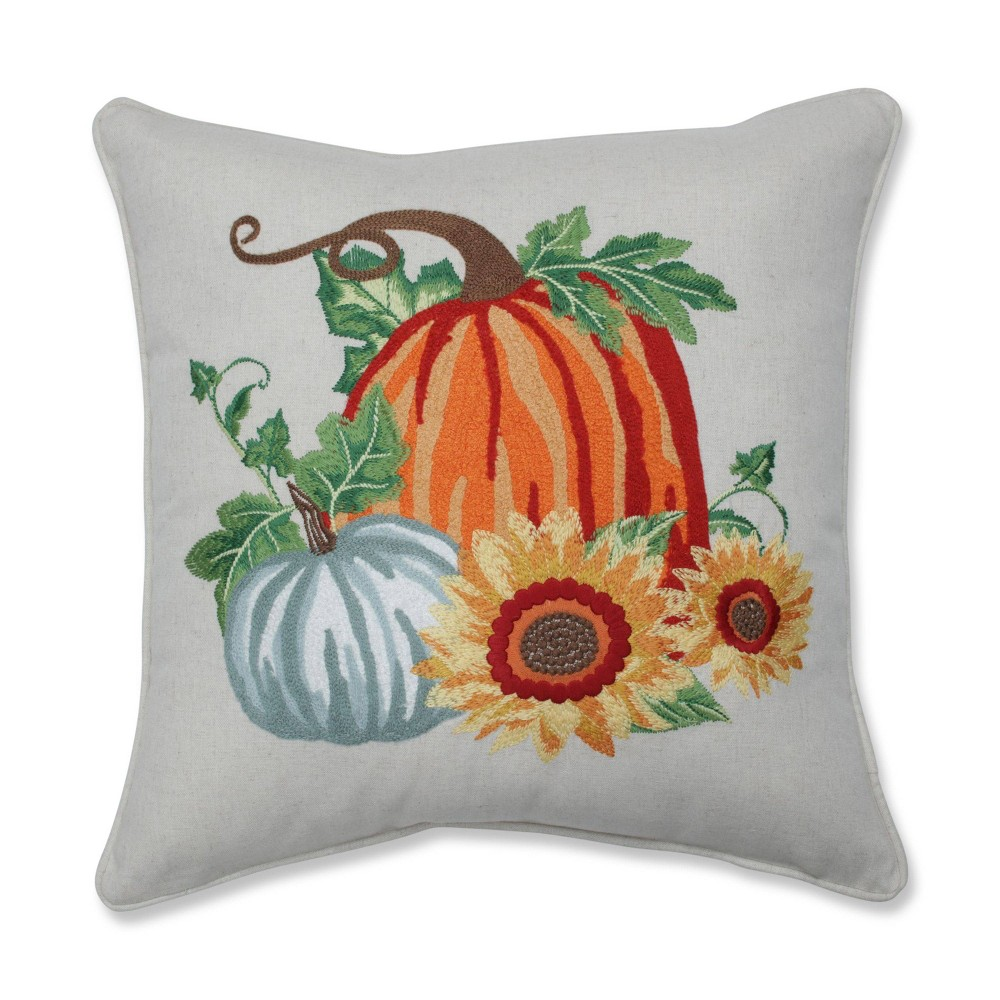 Image of Pumpkin Patch Embroidered Throw Harvest Pillow - Pillow Perfect, Green Orange