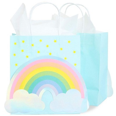 15 Pack Rainbow Diecut White Kraft Bags with White Handle - with 20pc White Tissue Paper