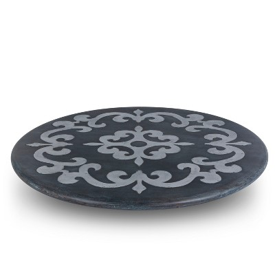GG Collection Gray-washed metal-inlay lazy susan