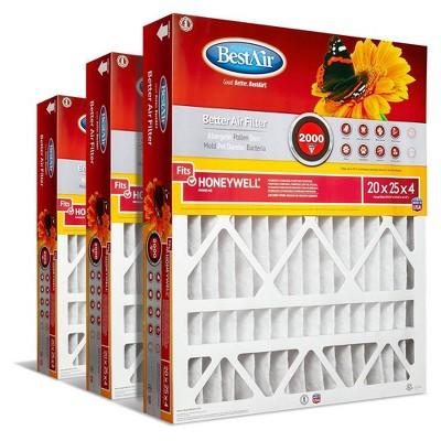 BestAir 3pk Honeywell 20X25X4 Replacement Air Furnace Filter Merv 11