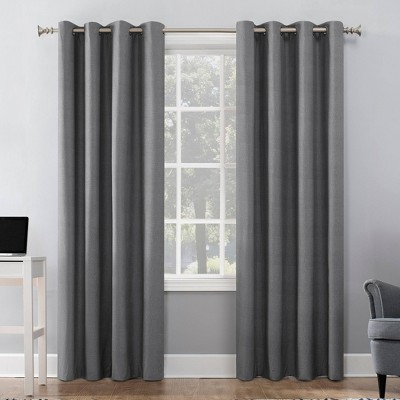 """63""""x50"""" Duran Thermal Insulated 100% Blackout Grommet Top Curtain Panel Gray - Sun Zero"""