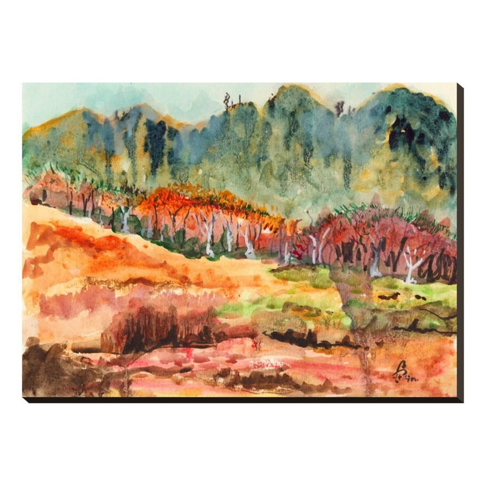 Watercolor Forest By Jim Stretched Canvas Print 33x24 - Art.com, Multicolored