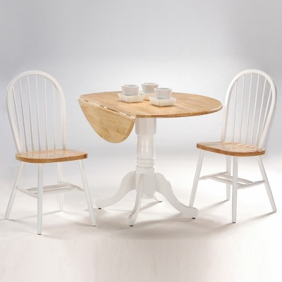 Round Drop-Leaf Pedestal Dining Table - International Concepts, White/Buff