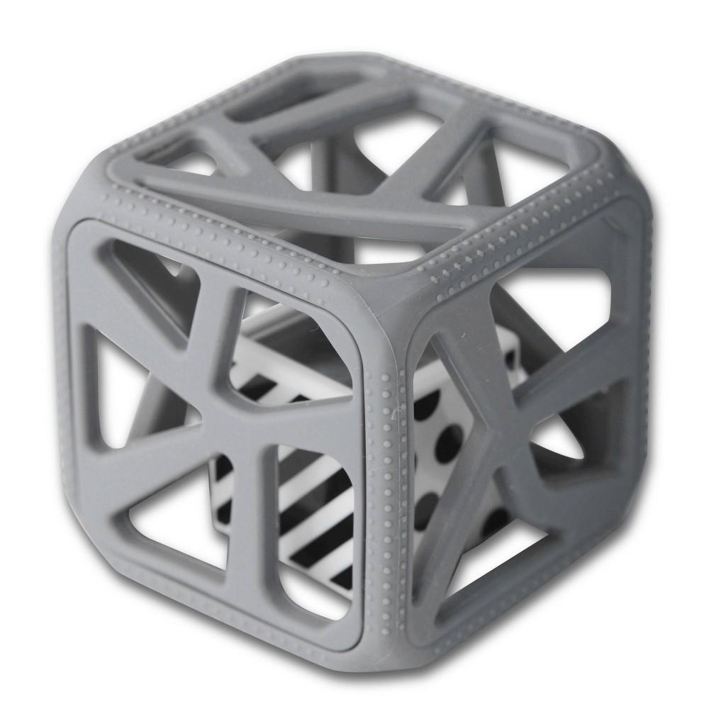 Image of Malarkey Kids Chew Cube Teether Rattle - Gray