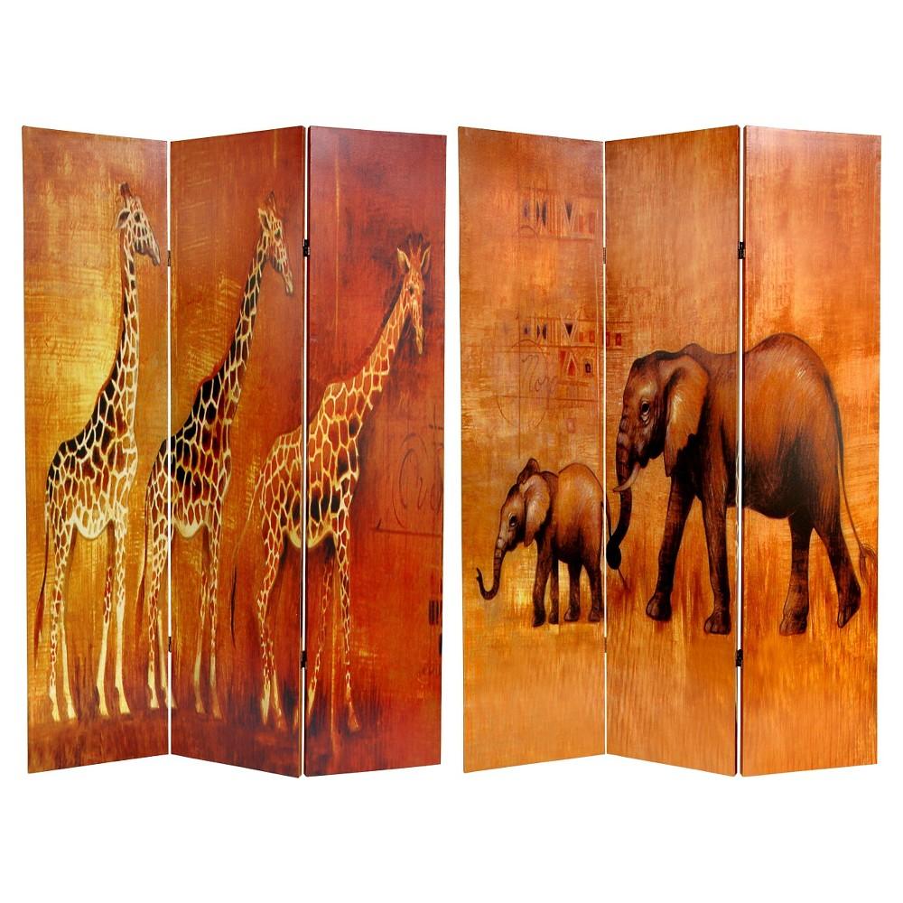 Giraffe Elephant Double Sided Room Divider Oriental Furniture