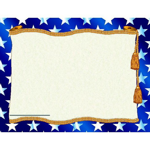 Hayes Replacement Stars Blank Certificate with Borders, 11 x 8-1/2 inches, Paper, pk of 50 - image 1 of 1