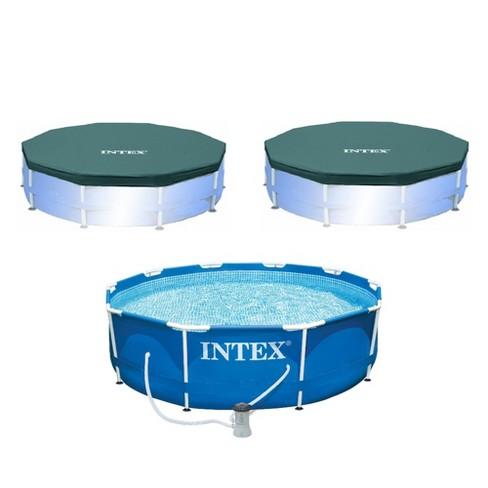 Intex 10 x 2.5-Foot Frame Pool w/ Filter Pump & Intex 10 ft Vinyl Cover, 2 Pack - image 1 of 4