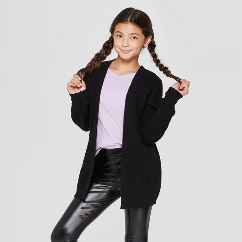Girls' Lace-Up Back Long Sleeve Cardigan - art class™ Black - image 1 of 3