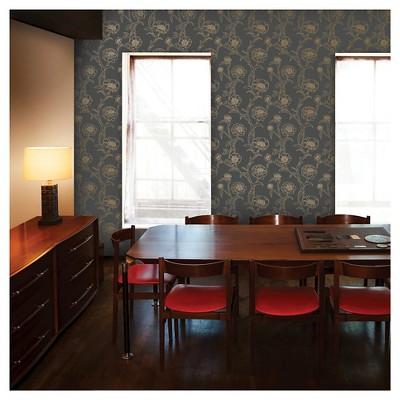 Tempaper Peonies Removable Wallpaper Dark Gray/Gold