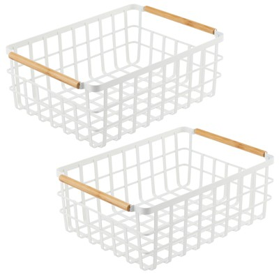 mDesign Metal Food Organizer Storage Bins with Bamboo Handles - 2 Pack