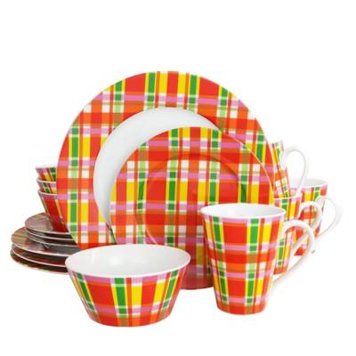 Gibson Home 16pc Porcelain Plaid Dinnerware Set