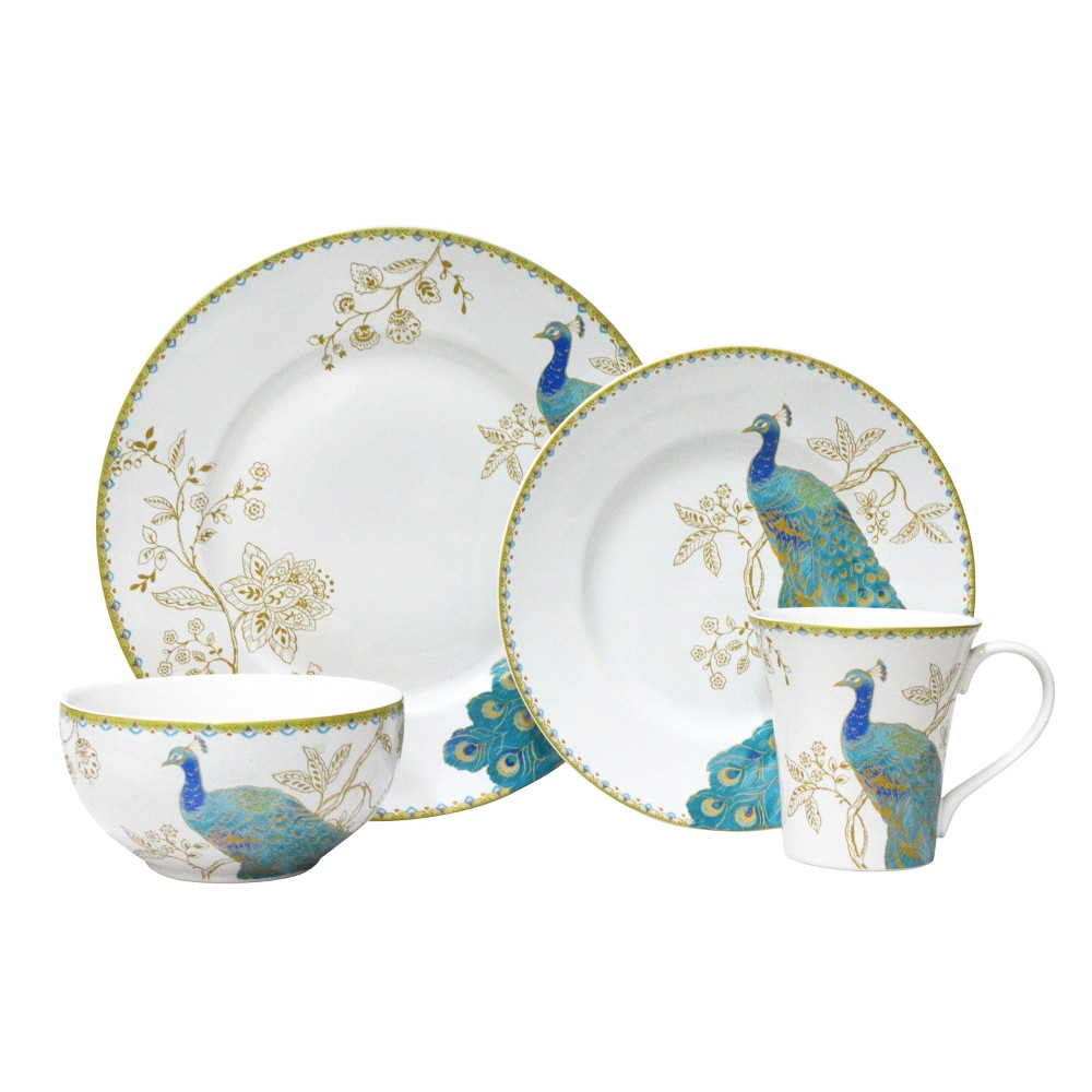 Image of 222 Fifth Peacock Garden Porcelain 16pc Dinnerware Set White, White Blue