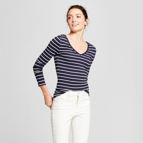 Women's Striped Fitted Long Sleeve T-Shirt - A New Day™ - image 1 of 3