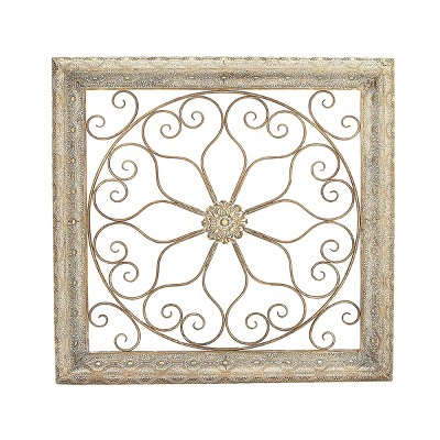 "36"" x 36"" Traditional Metal Floral Wall Decor - Olivia & May"