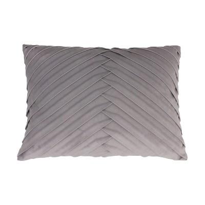 James Pleated Velvet Oversize Lumbar Throw Pillow Gray - Decor Therapy
