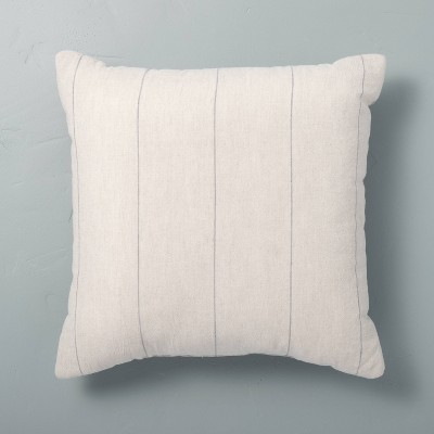 "18"" x 18"" Delicate Stripe Throw Pillow Railroad Gray - Hearth & Hand™ with Magnolia"