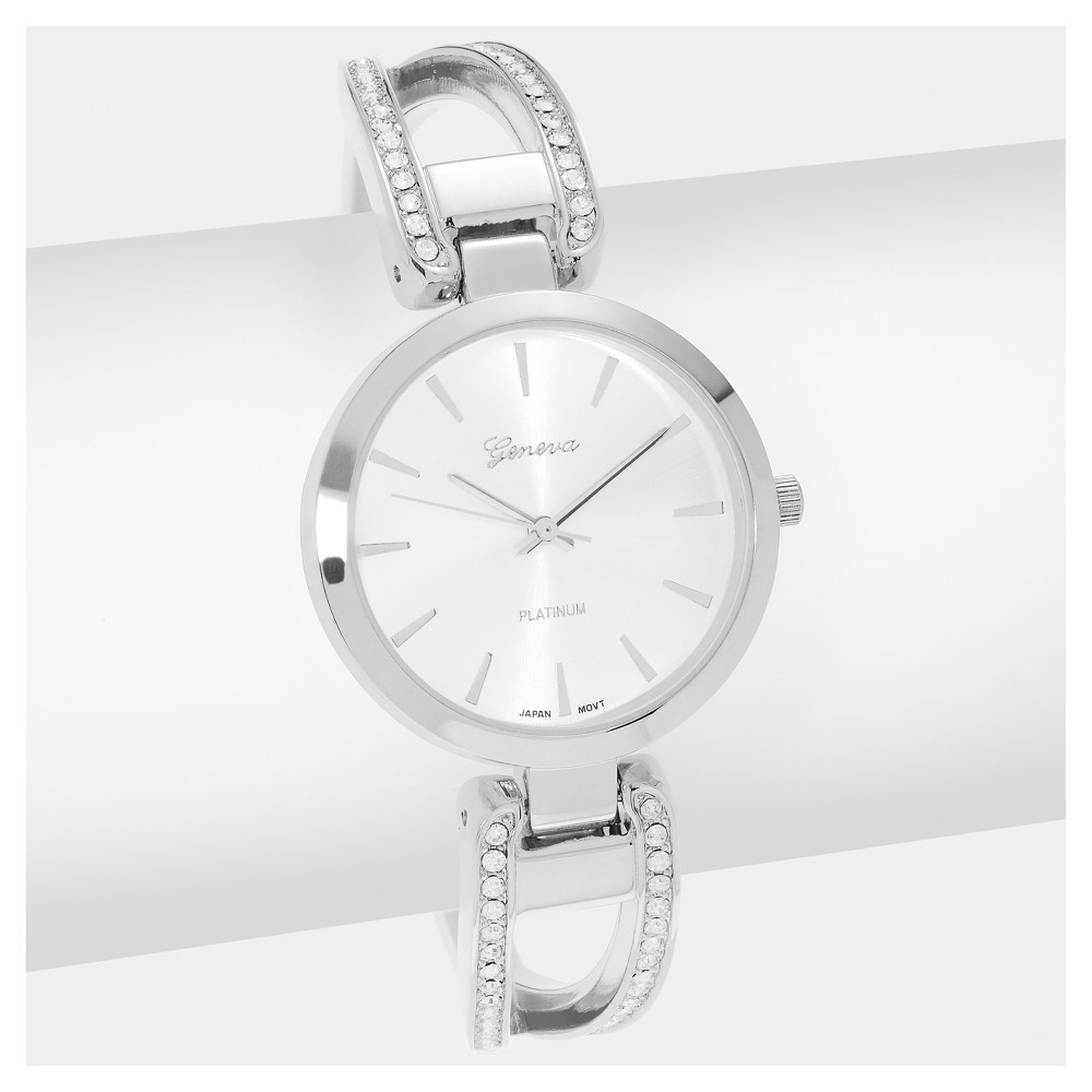 Women's Geneva Platinum Round Face Rhinestone Accent Adjustable Hinged Cuff Bracelet Watch - Silver