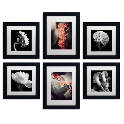 'Floral Gallery Wall Collection Set of 6' Ready to Hang Black Framed Art - image 1 of 4