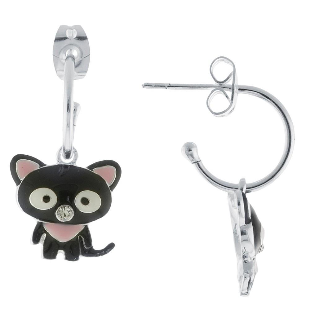 Silver Plated Cat Charm Hoop Earrings, Women's, Black/Silver/White/Pink