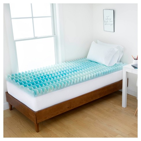 "2"" Blue Wave Memory Foam Dorm Mattress Topper -<br> Authentic Comfort® - image 1 of 9"