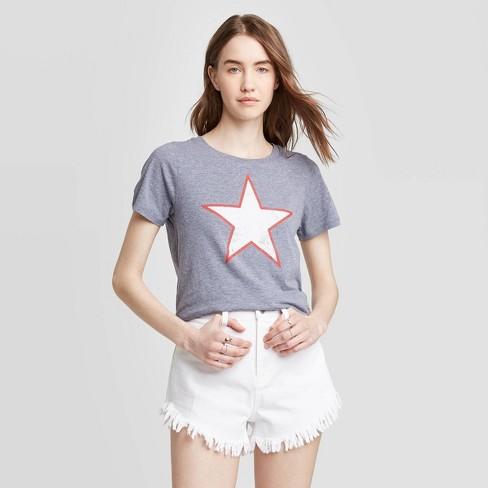 Women's Star Short Sleeve Graphic T-Shirt - Grayson Threads (Juniors') - Blue - image 1 of 2