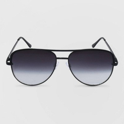 Women's Aviator Metal Silhouette Sunglasses - Wild Fable™ Black