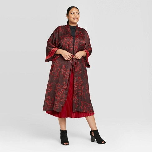 Women's Plus Size Floral Print Kimono - A New Day™ Burgundy One Size - image 1 of 2