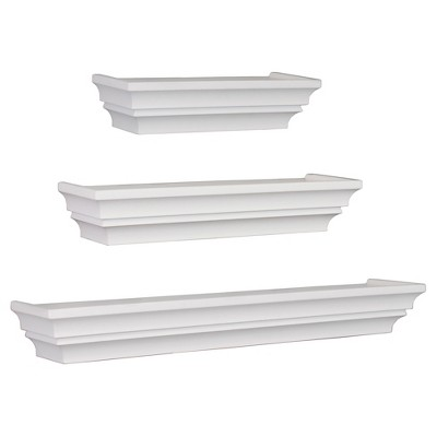 Madison Decorative Wall Ledge Shelf Set of 3 - White