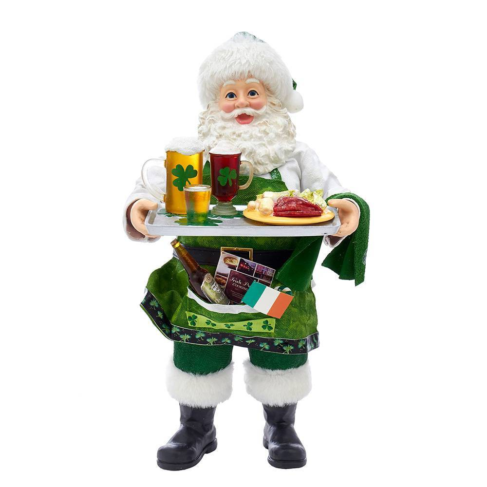 "Image of ""10.5"""" Kurt Adler Fabriché Musical Irish Chef Santa Decorative Sculpture"""