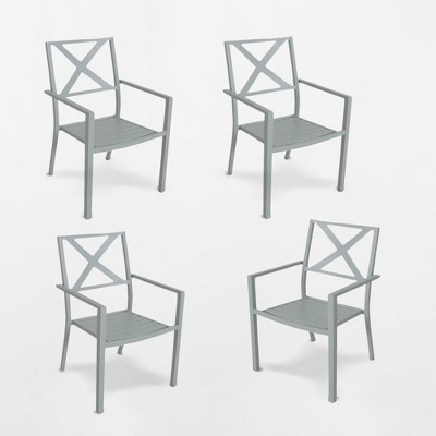 Afton 4pk Metal Stack Patio Dining Chair   Threshold by Threshold