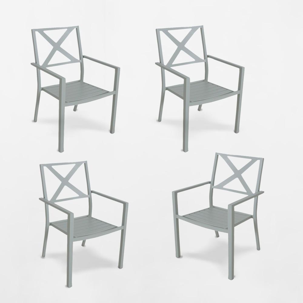 Afton 4pk Metal Stack Patio Dining Chair Light Green - Threshold