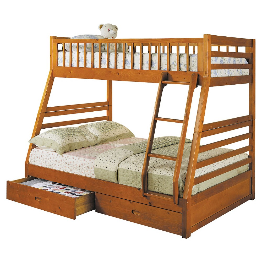 Jason Kids Bunk Bed - Honey Oak (Brown)(Twin/Full) - Acme