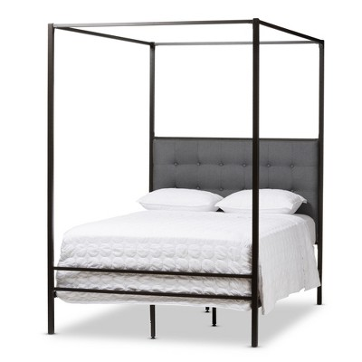 Eleanor Vintage Industrial Finished Metal Canopy Bed - Queen - Black - Baxton Studio