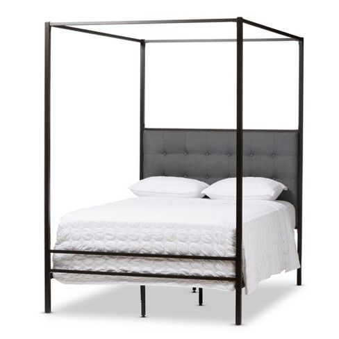 Eleanor Vintage Industrial Finished Metal Canopy Bed - Queen - Black ...
