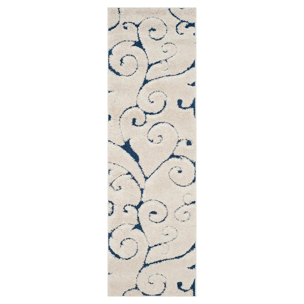Cream/Blue (Ivory/Blue) Abstract Shag/Flokati Loomed Runner - (2'3X7' Runner) - Safavieh