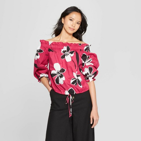 Women's 3/4 Sleeve Off the Shoulder Bardot Blouse - Who What Wear&#153 - image 1 of 6