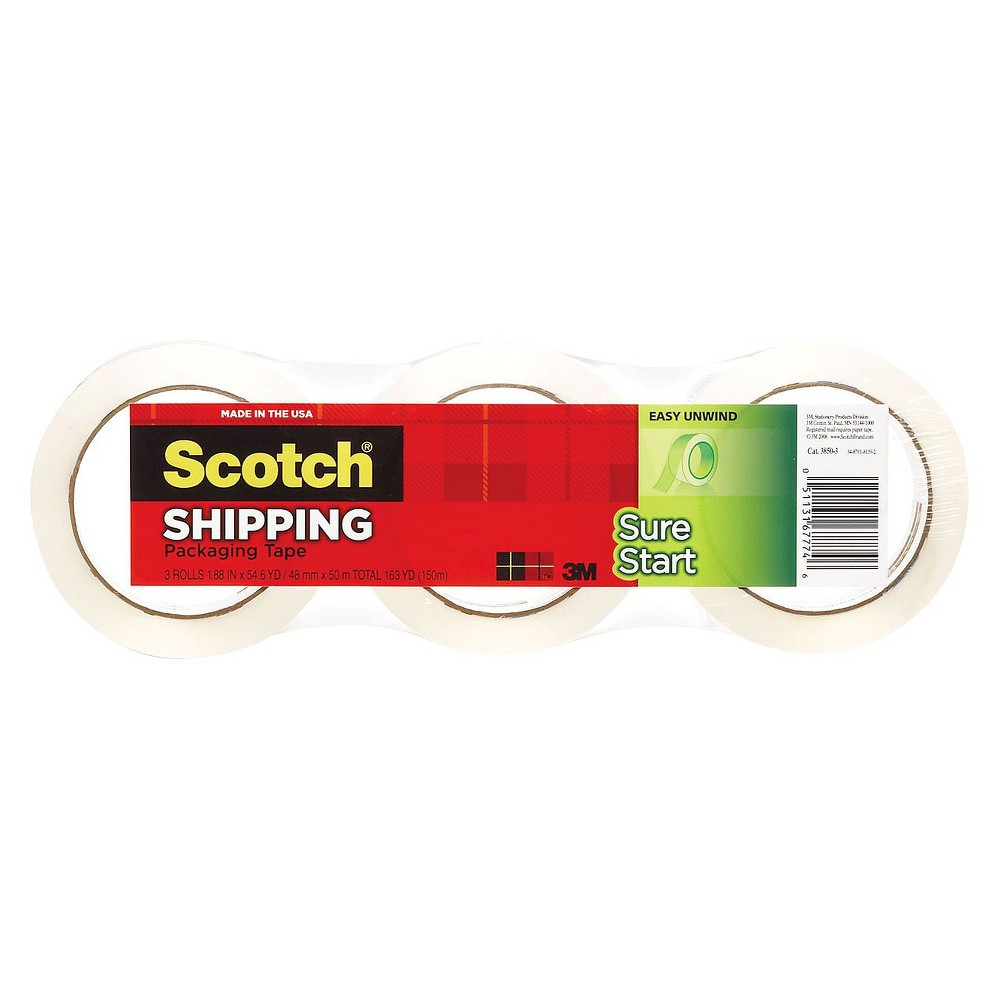 Scotch 1.88 x 54.6yds, 3 Core, Sure Start Packaging Tape - Clear (3 Per Pack)