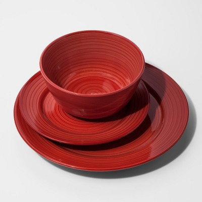 Stoneware 12pc Brushstrokes Dinnerware Set Deep Red - Threshold™