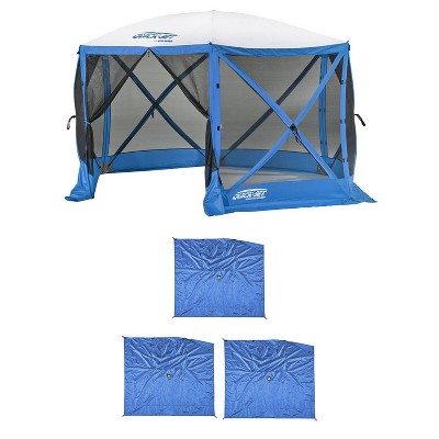 Clam Quick Set Escape Sport Tailgating Shelter Tent + Wind & Sun Panels (3 pack)